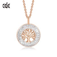 Wholesale swarovski crystal necklace rose gold resale online - CDE Women Gold Necklace Pendant Embellished With crystals from Swarovski K Rose Gold Tree of Life Jewelry Christmas Gift