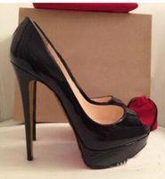 ingrosso cuoio rosso sexy delle donne-Plus Size 34-45 Red Bottom Leather diamante Tacchi alti Peep-Toe scarpe da donna Sexy con borchie Red Tacco a spillo donna Pompe da sposa 14cm + scatola originale