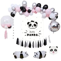 Wholesale giant posters resale online - Giant Panda Party Balloons Panda Bear Party Balloons Garland Baby Shower Panda Poster Pink Light Blue Latex Balloon Arch Kit SH190920