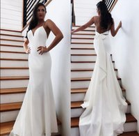 Wholesale sexy wedding dresses bows for sale - Group buy 2020 Mermaid Wedding Dresses Robe de soriee Cheap Summer Backless Sexy Open Back With Bow Long Train Bridal Gowns BM1552