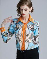 blusas de senhora venda por atacado-Venda quente Cachecol impresso laranja azul mulheres blusa carreira mulheres primavera slim fit senhoras camisa de trabalho carreira blusas