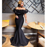 Wholesale gown online - 2019 New African Black Mermaid Evening Dresses with Ruffles Bateau Neck Prom Gowns Zipper Back Cheap Formal Dress