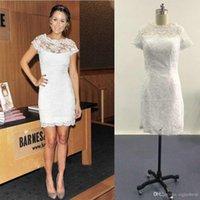 ingrosso nuova immagine della camicia bianca-New Little White Abiti Cap maniche corte Alencon Lace Mini Celebrity Abiti da sera Immagini reali Summer Party Dresses