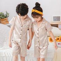 Wholesale kids clothes boy pajama resale online - 2020 New Design Children Silk Pajamas Summer Pajamas For Girls Kids Pyjamas Softy Boys Sleepwear Baby Clothing Kids Pajama Set