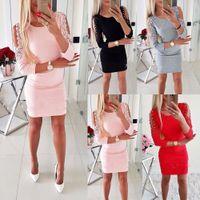 vestido de noche de encaje xl al por mayor-El más nuevo vestido de la manera atractiva de las mujeres fuera del hombro con encaje de manga larga fiesta de fiesta de noche mini lápiz vestido de clubwear