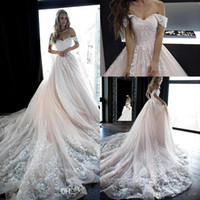 Wholesale short bride tulle dress online - A Line Wedding Dresses Blush Pink Elegant Off Shoulder Appliques Summer Bohemian Bride Wedding Gowns Low Backless BC2044