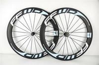 rodas clincher azul venda por atacado-Estrada 60 milímetros 700c FFWD LUZ AZUL total de carbono Rodas de bicicleta Clincher Tubular bicicleta cheia de carbono Wheelset