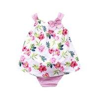 mavi çiçek şortu toptan satış-Yaz yeni bebek kız giysileri Yenidoğan Kıyafetler çiçek tank Tops + yaylar Fırfır Şort Bebek Suit Bebek setleri bebek kız tasarımcı giysi