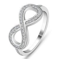 ingrosso monili d'argento del micro inlay-Monili di lusso del progettista delle donne Anelli 925 monili di lusso in argento Sterling anelli di fidanzamento per le donne Infinity 8 Word Micro Inlay