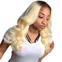 Wholesale white blonde full lace wig for sale - 613 Blonde Lace Front Wig Human Hair For White Women Glueless Malaysian Virgin Ombre Blonde Hand Tied Full Lace Human Hair Wig