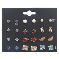 Wholesale cherry jewelry sets for sale - Group buy Baby Girl Stud Earrings Set Pretty Apple Orange Cherry Ear Studs For Kids Children Woman Jewelry