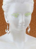 Wholesale heart wing earrings for sale - Group buy Swirl wings heart Charm Earrings silver Fish Ear Hook pairs Antique silver Chandelier DIY Jewelry x31mm A e