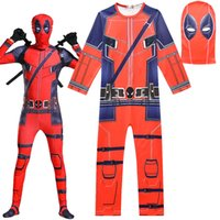 Wholesale deadpool costume for sale - Asian Size Kids Child Moive Red Deadpool Superhero Cosplay Costume Party Zentai Skin Jumpsuit Catsuit Bodysuit