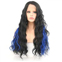 mèches noires bouclées achat en gros de-Nouveau Bleu Highlights Noir Split Longueur Cheveux Bouclés Micro Rouleau Dames Fluffy Fiber Chimique Avant Dentelle Couvre-chef jooyoo