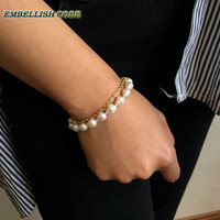 Wholesale pearl bracelets for sale - Group buy NEW Design charming row double bracelet small baroque nucleated flameball pearl freshwater pearls mm copper chain