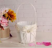 корзины с цветочками для свадеб оптовых-Девушки цветка корзины для свадьбы 2018 горячие продажи бежевый шампанское атласная корзина цветов наборы 23 см*13 см быстрая доставка