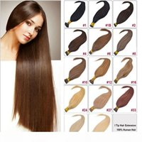 Wholesale 16 packs human hair resale online - 16 Tangle Free I Tip Hair Extensions Human Platinum Blonde Pre Bonded Keratin Hair g S s Pack I Tip Extitions