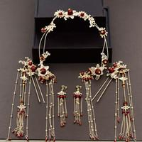 Wholesale chinese bride hair online - New Chinese bride costume headdress step shake hairpins coronet tassel wedding hair jewelry wholesales JCE064