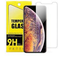 samsung galaxy prime için temperli cam toptan satış-IPhone XR XS MAX 8 7 Artı Temperli Cam Temizle Ekran Koruyucu Samsung Galaxy J7 J5 Başbakan Kağıt Paketi