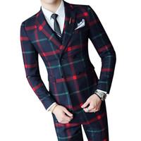 invitaciones de boda cajas chinas al por mayor-Traje de boda a cuadros 2019 Fashion Check Suit Hombres Vintage Prom Banquet Men Slim Fit chaqueta de doble botonadura Chaleco Pant