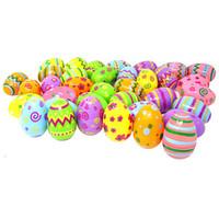 ingrosso i pattini forniscono i giocattoli-48Pcs Colorful Easter Egg Pasqua Favore di partito Fornire Kid giocattolo di plastica Uovo staccabile uovo vuoto fatto a mano uova di Pasqua di Pasqua