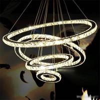 işık saçan daire kristali toptan satış-Modern 3 Halkalar Salon Yatak Odası LED Luster İç Dekor için Lamba Asma Işık Kolye Paslanmaz Çelik Çember Crystal LED