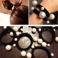 ingrosso gomma di panna-3Pc perle finte moda Elastico nero Bands Girl Corda Gum Rubber Band tie bun holder Dimensioni: Approx.6cm