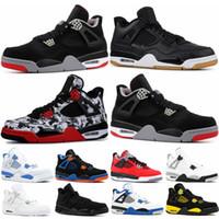 top chaussures de basket taille 13 achat en gros de-Baskets pour hommes 4s chaussures de basket Bred White ciment chat noir Royalty SE Cavs Raptor Sngl-Dy sport 4 chaussures de tennis taille 7-13