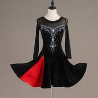 saias latinas pretas venda por atacado-New Latin Dance Dress Mulheres Black Velvet Dança Vestido Latina Skirt Tango Prática desgaste competição Desempenho VDB545