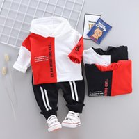 Wholesale toddlers boys sports clothes resale online - Toddler Infant Designer Clothing Baby Boys Girl Winter Clothes Suit Kid Sports Hooded Sweater Pants Sets Children Toddler Tracksuit
