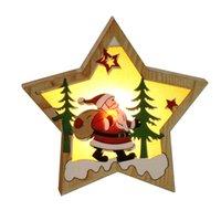 pendurado estrela decoração de natal venda por atacado-Decoração de Natal Popular ornamento de incandescência de madeira Estrela Rodada forma clara luminosa de Santa Snowman cervos pingente pendurado LED