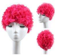 saç taç yaprakları toptan satış-Boyutlu çiçek yaprakları yüzme kap büyük elastik artı kaplı konforlu ve nefes alabilen kadın uzun saç