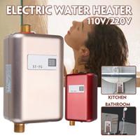 instant wasserduschen großhandel-Elektrischer Durchlauferhitzer Durchlauferhitzer 110V 220V 3.8KW Temperaturanzeige Heizung Dusche Universal 3800W