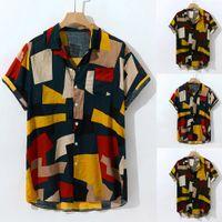 blusas cortas bajo al por mayor-2019 Nuevo diseño de moda con estilo para hombre Multicolor bulto en el pecho Bolsillo Manga corta dobladillo redondo Camisas sueltas Blusa