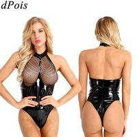 Women Bodysuit Zipper Open Bust Swimwear Latex Wetlook Catsuit Leotard Costume