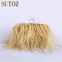 pelz-handtaschen großhandel-Luxus Straußenfedern Pelz Clutch Abendtaschen Damenhandtasche Handtasche Umhängetasche Messenger Lady Geldbörse Party Tasche BA379