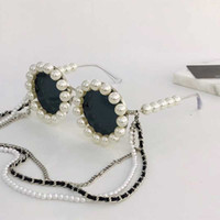 Wholesale rihanna sunglasses resale online - 90 Rihanna same paragraph fashion sunglasses pearl decoration send a set of original box chain round full frame style glasses S