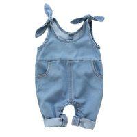 kinder denim overalls großhandel-Neue Sommer Infant Baby Jungen Mädchen Strampler Kinder Onesies Denim Strampler Overalls Kind Body 14810