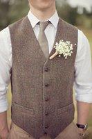 um vestido feito venda por atacado-Colete País Marrom Noivo Coletes Para Casamento Lã Espinha De Peixe Tweed Custom Made Slim Fit Mens Terno Colete Fazenda Prom Vestido