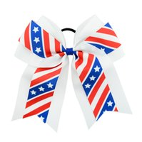 Wholesale baseball bows for sale - Group buy Kids Baseball Hairpins USA America Flag Hair Clip Baby Girls Hair Bow Barrettes Stars Elastic Hairbands Star Hair Clips GGA2682