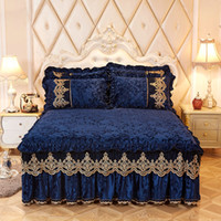Wholesale princess bedding set king size resale online - Royal blue Princess Bedding Bed Skirt Set Pillowcases Velvet Thick Warm Lace Bed Sheets Mattress Cover King Queen size