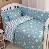 bebek yatağı desenleri toptan satış-3 Adet / takım İskandinav Tarzı Pamuk Bebek Yatak Seti Reaktif Boyama Karikatür Bulut Ağacı Desen El Yapımı Bebek Yatağı Yatak Seti
