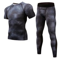Wholesale quick drying tactical shirts resale online - mma rashgard Long Sleeve Fitness Set Tights Mens Compression Shirt Elasticity Quick Dry Breath Leggings Tactical Men sportswear