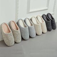 chinelo japonês venda por atacado-2019 estilo japonês Mulheres interior Chinelo Plush Chinelos Ladies Cotton Autumn Knitting Cashmere respirável sapatos Piso Indoor