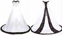 черный свадебное платье корсет-корсет оптовых-Черно-белые свадебные платья милая линия корсет атласная Вышивка бисером блестки дешевые свадебные платья свадебные платья Vestidos де Novia