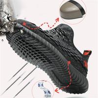Wholesale men summer work shoes resale online - Safety Shoes Men Breathable Summer Mens Shoes Standard Steel Top Anti Smash Anti Puncture Work Shoes Steel Toe Work Boots
