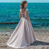 Wholesale princess birthday dresses for girls resale online - Backless Custom Made Vestido First Communion Gown Vintage Satin Dress For Elegant Princess Beading Lace Flower Girls Dresses