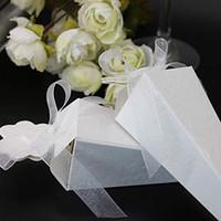 bebek duş şeritleri iyilikler toptan satış-Koni Şeklinde Kağıt Şeker Kutusu Kurdela ile Düğün Konuklar için Şekeri Hediye Kutusu Ambalaj Bebek Duş Doğum Günü Partisi Dekorasyon