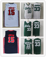 67475f0e9 Magic Earvin Jersery Michigan State Spartans 33 Johnson 1992 Olympic Game  American Dream One 15 Johnson Basketball Jerseys Shirt S-2XL