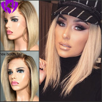 Wholesale short white wig for women for sale - Group buy Hotselling brown roots ombre blonde color Short Bob Wigs Brazilian full Lace Front Wig synthetic heat resisatant hair For White Women